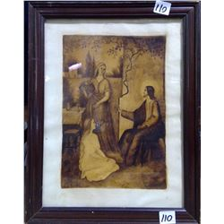 "1872 Germany Original Charcoal Drawing ""Jesus and Women"""