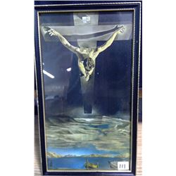 "1975 Dali Framed James Art Studio Saskatoon Print ""Jesus Ascending"""