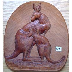 """1974 Australia Hand Carved Hardwood """"Kangaroos"""" by Diki"""