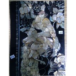 "1972 South Korea Lacquer Abalone  ""Parrots and Plum Blossoms"""