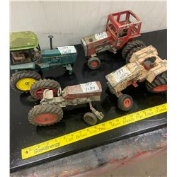 4 Toy Tractors - 2 M.F. -1 J.D. - 1 Case All need Restoration