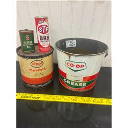 4 Tins ESSO 3 Star 5lbs - COOP Grease 10 lbs- STP and Singer Oil
