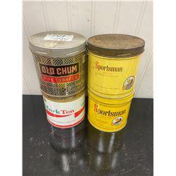 4 Round Tobacco Tins