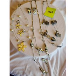 yellow sparkle daisy fashion earring and necklace, Grey / 3 tiered necklace, Fashion necklace & earr