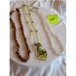 light rose quartz necklace, Gold sunstone necklace, Beaded yellow necklace with green and brown pend