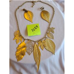 golden leaf fashion necklace and earring set