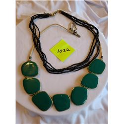 """""""Lia Sophia"""" suede chain with green and gold geometric squares, Black beaded multi-stranded necklace"""