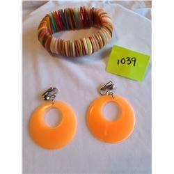 Retro multicolored shell bracelet, Retro orange clip on circle earrings