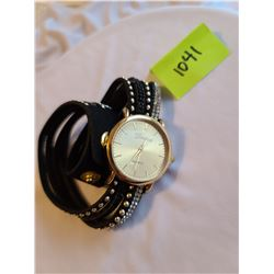 """Stainless steel gold plated """"Geneva"""" quartz double wrap watch with silver studs and black and clear"""