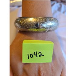 Silver coloured small to medium Bohemian bangle bracelet