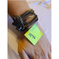 Slip on knotted wire mesh dark stainless steel bracelet