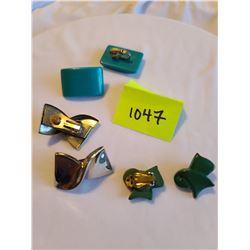 Retro dark green bow clip on earrings, Silver bow clip on earrings , Retro turquoise rectangle clip