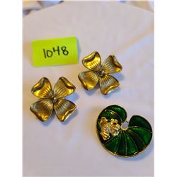 Gold coloured retro floral clip on earrings, Green and gold with white and black rhinestone frog on