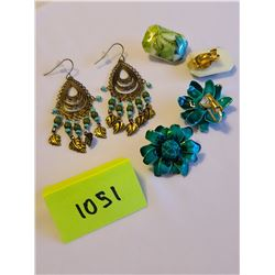 Plastic retro tropical green clip on rectangle earrings, Bohemian antique brass dangle hook earrings