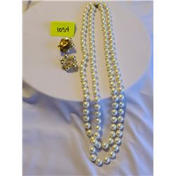 long pearl fashion necklace, Beaded vintage 1950's clip on earrings