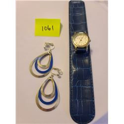 Kristine quartz blue vinyl snap watch, Blue and silver dangle clip on earrings