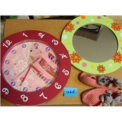 pink barbie clock, green round mirror, children's crocheted pink and grey mouse slippers