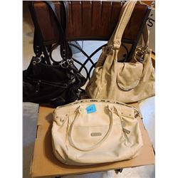 "black ""La Diva"" purse, beige purse, creme ""Grace Adele"" purse"