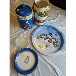 Christmas collection: Ceramic holly vase, ceramic christmas tree cookie jar, snowman tray, snowman g