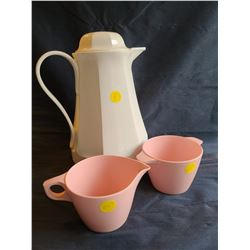"Vintage coffee set: 1982 Vintage Thermos ""Christa"" No.430 Carafe, Vintage Genuine light pink melmac"