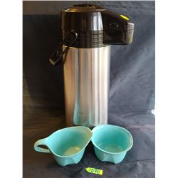 Vintage coffee set: Trudeau Stainless Steel carafe with pump, Turquoise Creamer - Fine Melmac - The