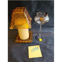 """Partylite set: ""Partylite"" Amber glass pillar shade and base, ""Partylite"" stained glass stem tealig"
