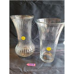 2 glass vases: Twisted stripe glass vase, Beautiful raindrop dimple design glass, flanged vase
