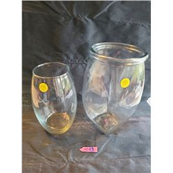 2 glass vases: Medium oval glass vase, 4 sided rounded vase with thick glass rim