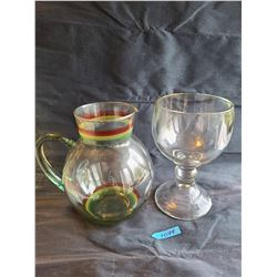 glass pitcher with red, yellow and green painted stripes, Thick glass goblet