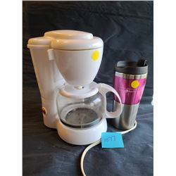 4 cup white coffee maker, Breast cancer pink travel mug