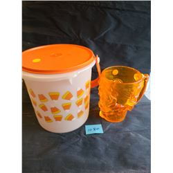 """Tupperware"" Candy corn 5L container with handle and lid, Treasure Island plastic orange skull mug"