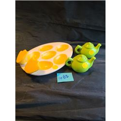 "green ceramic salt & pepper shakers ""Dead duck"" ceramic egg dish"