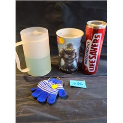 Collectors pack: Wild cherry large life savers tin, Halo 4 3D 7eleven slurpee cup, Unique blue & whi