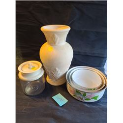 """Roy Craft"" Vase by Laurentian Pottery, Vintage tupperware .5L container with lid, Set of 3 Stainles"