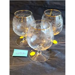 Etched glass stemware with gold trim (set of 3)
