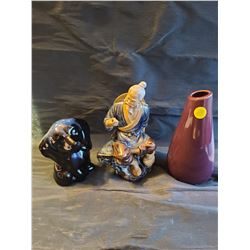 Vintage porcelain chinese mud man fisherman *missing fishing pole*, Ceramic dark purple vase, Cerami