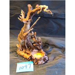"""River's edge"" Elk gets hunter - ceramic detailed tealight holder"