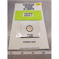 1937 Silver 10¢ - fine