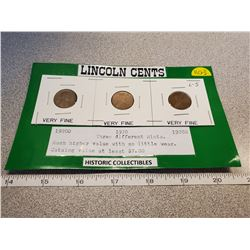 U.S. Lincoln one cent 1920D, 1920 and 1929S (three different mints) All Very Fine