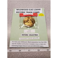 Wildwood Elks 1982 gold plated trade coin, community bingo issue