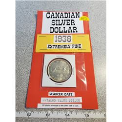 1938 silver dollar, extremely fine catalogue value $75.00