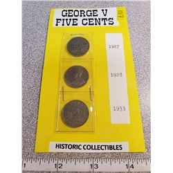 George V 5¢ 1927, 1928, 1933