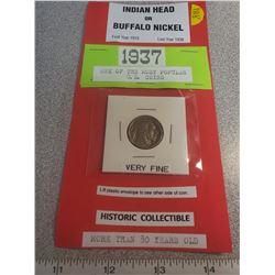 1937 U.S. Indian head - Buffalo 5¢