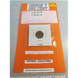 1923 George V 1¢ rare date, fine condition Catalogue $50.00