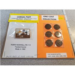 Canada Post historic vehicle pin and 5 scarcer date 1¢ coins