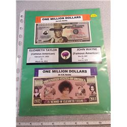 U.S. Million dollars, John Wayne & Elizabeth Taylor