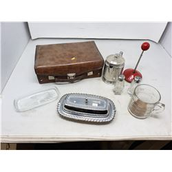 Lot  Butter Tray - Measuring cup - Cassette Tapes etc.