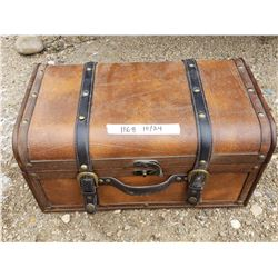 Small Wooden Trunk - Leather Top