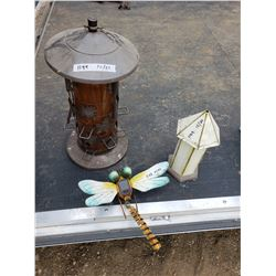 Tin Bird House, Feeder,Solar Dragon Fly