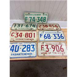 1970,71,72,73,74,75,76 Sask. License Plates
